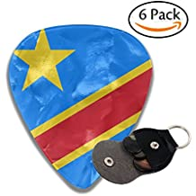 Flag Of The Democratic Republic Of The Congo 351 Shape Classic Celluloid Guitar Picks For Guitar Bass - 6 Pack .71mm