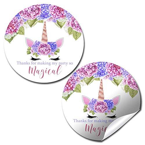 (Hydrangea Unicorn Face Birthday Party Thank You Sticker Labels, 20 2