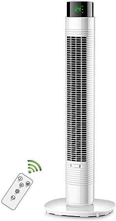 Opinión sobre FHDF Ventilatori oscillanti silenziosi con telecomando, potenti ventole di raffreddamento 3 tempi Senza Vento 3 velocità con Timer 9H per camere da letto e ufficio, H90cm (60W, Blanco)