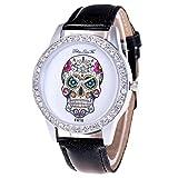 Diamond Dial Quartz Watch, Hosamtel Leather Analog Skull Head Round Case Unisex Watch