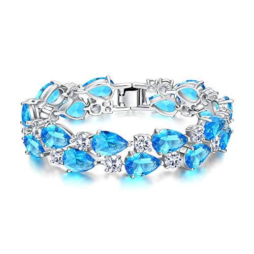 - EVER FAITH Gorgeous Zircon Elegant Dual Layer Waterdrop Bridal Tennis Bracelet Sea Blue Silver-Tone