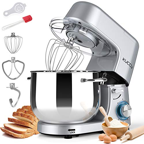 Stand Mixer,Kuccu 660W 6 Speeds Tilt-Head Food Dough Mixer with 8 Qt Stainless Steel Bowl, Electric Kitchen Mixer with Dough Hook and Flat Beater, Wire Whisk