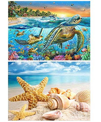 ONEST 2 Pack 5D DIY Diamond Painting Full Drill Paint with Diamonds for Home Wall Decor by Number Kits, Sea Turtle and Starfish Seashell (12X16inch)