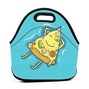 Borsa tote pranzo portatile in neoprene per pizza personaggio dei cartoni animati con cerniera per ufficio scuola e pic… 10 spesavip