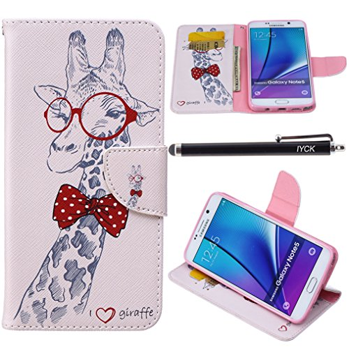 Note 5 Case, Galaxy Note 5 Case, iYCK Premium PU Leather Flip Folio Carrying Magnetic Closure Protective Shell Wallet Case Cover for Samsung Galaxy Note 5 with Kickstand Stand - Cartoon Giraffe - Giraffe Note