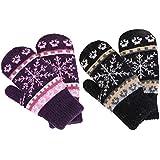 Womens Mittens Winter Fair Isle Knit Sherpa Lined Mittens,2 Pairs,Black/Purple