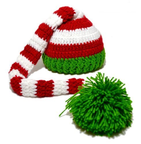 [OOOUSE Christmas Baby Green Red Crochet ELF Long Tail Pom-pom Hat] (Green And Red Elf Costumes)
