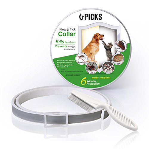 "U-picks Flea and Tick Collar & Flea Comb for Dogs Cats - 6 Months Flea and Tick Control Protection - Adjustable Size for Small Large Dogs Cats - Waterproof - 25"" Inches Long - Stops Pest Bite - Itching"