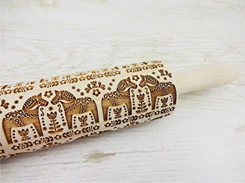 Embossing rolling pin FOLK HORSES. Laser engraved dough roller with FOLK pattern