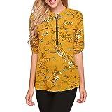 ANGVNS Women Long/Short Sleeve V Neck Flower Print Chiffon Blouse, Yellow 1, M