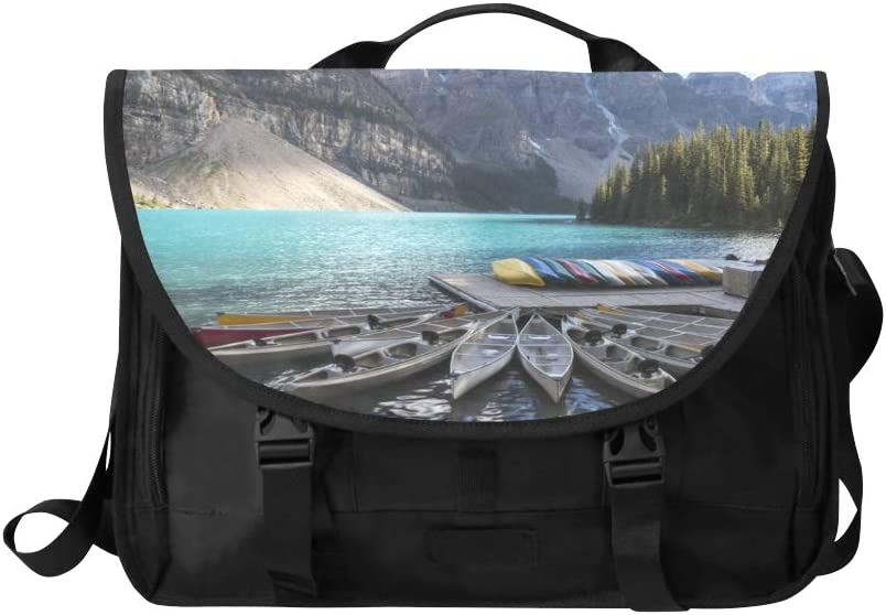 Mens Laptop Bag Colorful Boats On The Lake Multi-Functional Laptop Briefcase Men Fit for 15 Inch Computer Notebook MacBook