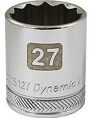 Dynamic Tools 1/2-Inch Drive 12 Point Metric, 27-Millimeter Standard Length, Chrome Finish Socket
