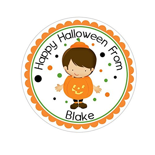 Personalized Customized Halloween Party Favor Thank You Stickers - Boy Pumpkin Costume - Round Labels - Choose Your Size