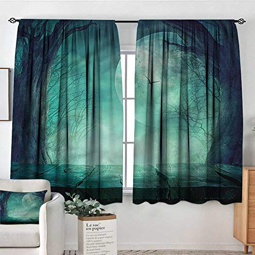 Sanring Halloween,Boys Bedroom Backout Curtains Spooky Forest Halloween 72
