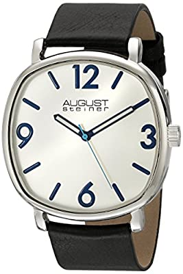 August Steiner Men's AS8139SS Silver Quartz Watch with Silver Dial and Black Calfskin Leather Strap
