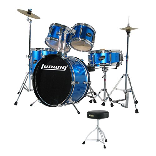Ludwig Junior 5 Piece Drum Set with Cymbals (Blue) with Tama HT130 Standard Double Braced Leg Throne (Ludwig Standard Drum)