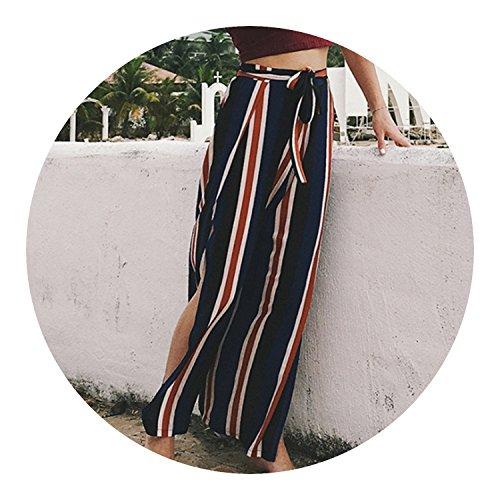better-caress Leg Pants Women Summer 2018 Loose Legs Open Trousers Full Length Elastic Waist High Waist,Stripe,M