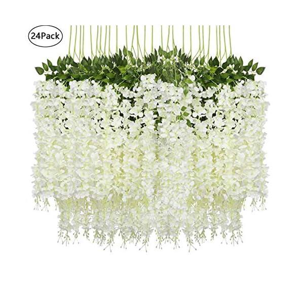 Lehom 24 Pack 3.6 Feet Artificial Fake Wisteria Vine Ratta Hanging Garland Silk Flowers String Home Party Wedding Decor White