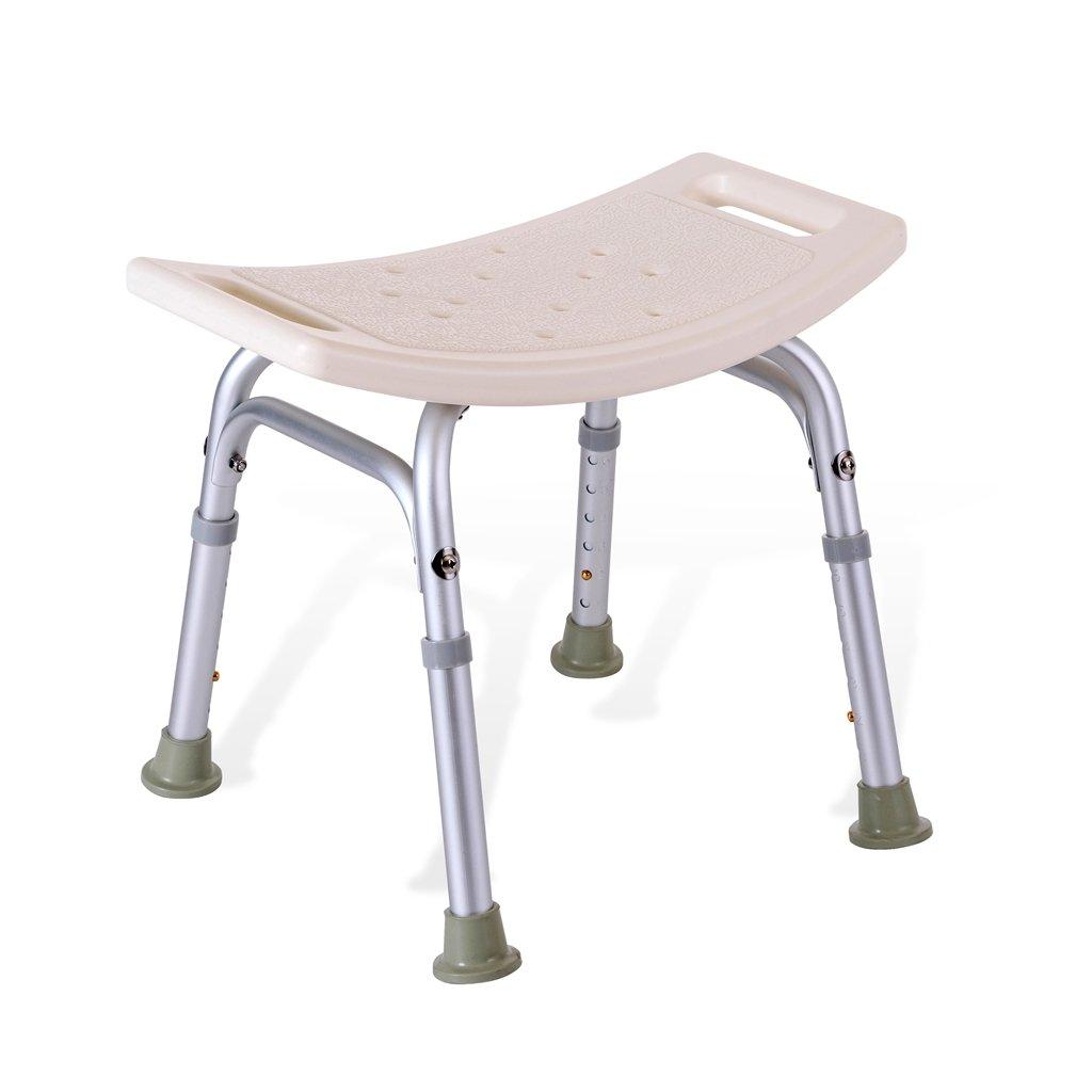 シャワー/バススツールアルミ合金シャワーシートチェアノンスリップ高さ調節可能な障害援助シャワーチェアホワイト高齢者/障害者のためのハンドルバス付き6高さで調節可能Max。 227kg B07F32MDD3