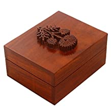 Decorative Small Wooden Ring Trinket Holder Box Jewelry Organizer, Multipurpose Handcrafted