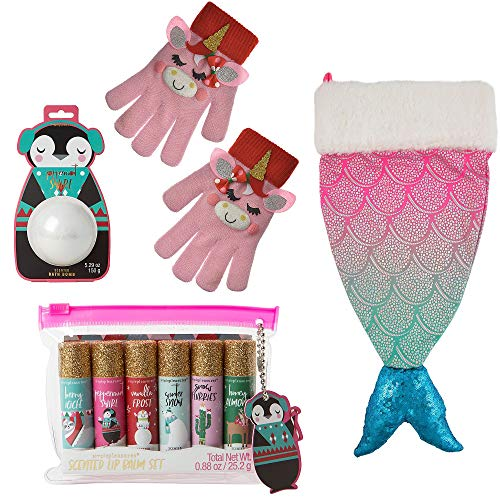 Party City Mermaid Stocking Stuffer Kit, Christmas Gifts for Girls, Includes Lip Balm Set, 4 Pieces