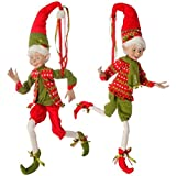 Raz Imports 30'' Red and Green Holly Posable Elf Set