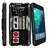 MINITURTLE Case Compatible w/ Pixel XL Hard Case, Google Pixel XL Case[Armor Reloaded] Rugged Impact Protector Case + Clip Holster and Stand Heavy Duty Game Controller Retro