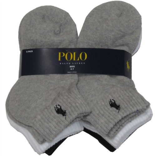 Polo Ralph Lauren Boy's 6-Pair Quarter Crew Socks