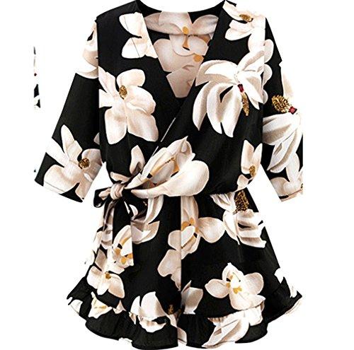 - VEZAD Women Jumpsuit Plus Size Floral Chiffon Playsuit Clubwear Bodycon Party Romper