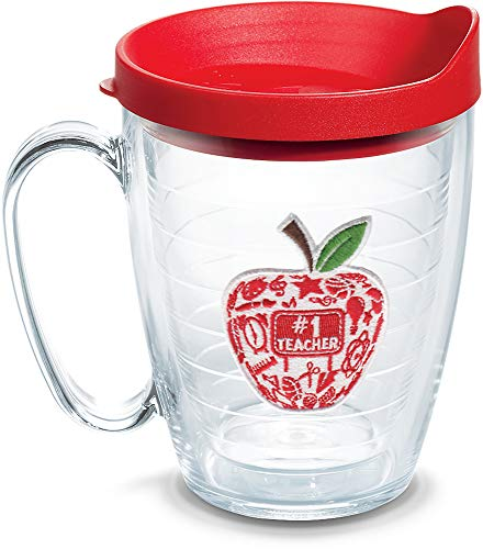 Tervis 1143655 #1 Teacher-Modern Apple Insulated Tumbler with Emblem and Red Lid, 16oz Mug, Clear