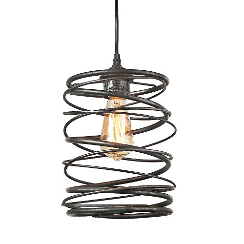 LNC 1-Light Contemporary Ceiling Light Spiral Pendant Lighting (Rustic Lighting Contemporary)