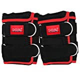 SHOUNg Ankle Weights(1 Pair) with Adjustable Strap for Fitness, Workout, Exercise, Walking, Jogging, Gymnastics, Aerobics and Gym(Black, 20LBS)