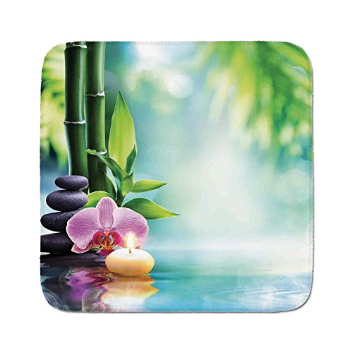 Cozy Seat Protector Pads Cushion Area Rug,Spa Decor,Symbolic Spa Features with Candle and Bamboos Tranquil and Thoughtful Life Culture Nature Print,Multi,Easy to Use on Any Surface -