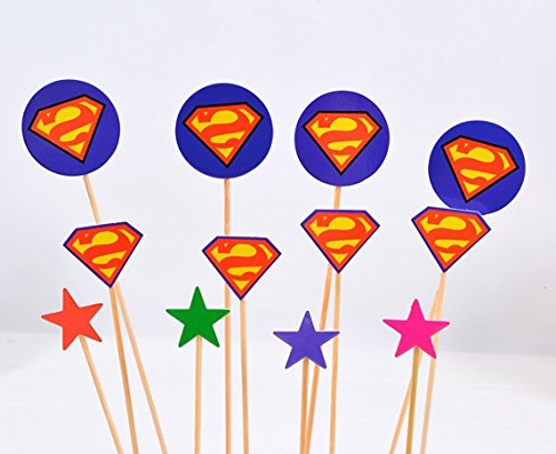 Superman/Hero Cupcake Toppers Picks Decoration for Baby Shower, Birthday Party (Superman Cupcake Toppers)