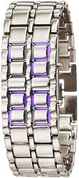 GGI International Men's Mled-Lava-SB Silver Stainless Steel Lava Blue LED Digital Bracelet Watch