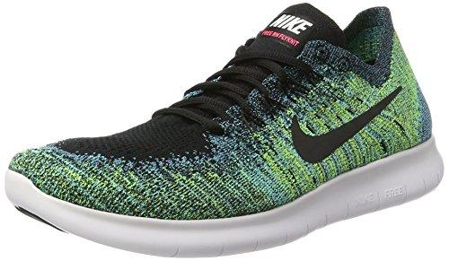 Nike Heren Gratis Rn Flyknit 2017 Hardloopschoen Zwart / Zwart-volt-chloorblauw