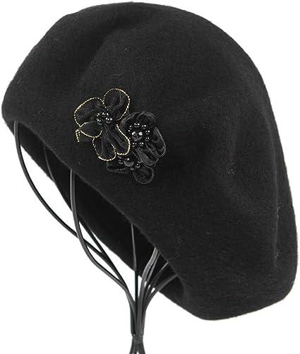 Gorra de Lana de Invierno Dorada cálida Flor de Seda Boina Pintada ...
