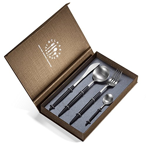 18/10 Stainless Steel Flatware Set 4-Piece by Joerid, Gift Box with Fork Knife Spoon Teaspoon, Service for 1, Black & (4 Piece Teaspoon)