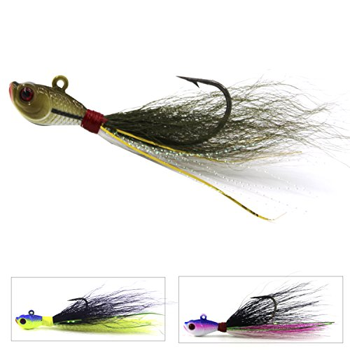 Bucktail Jig Fluke Lures Saltwater Freshwater Fishing Baits Assorted Kit for Bass Striper Bluefish Surf Fishing Size 1/4 OZ by Shaddock Fishing - pack of 3 (0.25 Ounce 4/0 Hooks)