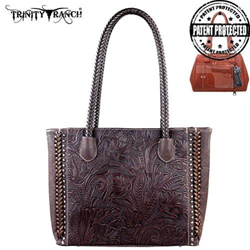 Tr25g-8014 Montana West Trinity Ranch Tooled Design Concealed Handgun Collection Handbag-coffee