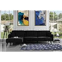 Mid Century Modern Style Linen Fabric Sleeper Futon Sofa, Living Room L Shape Sectional Couch with Reclining Backrest and Chaise Lounge (Black)