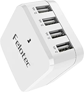 International Wall Charger with Travel Adapter - Felotec 4-Port 48W/9.6A Power AC Adapter with UK EU Plug, Multiple USB Charger Compatible for iPhone, iPad, Samsung, Android,Tablets,Camera etc.
