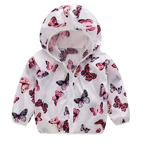 Londony, Baby Girls Toddler Kids Boy's Hooded Windproof Zipper Jackets Coats Cartoon Windbreaker White