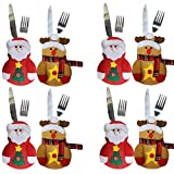 Christmas Kitchen Dinner Flatware Cutlery Suit Silverware Holders Pockets Knifes Forks Bag Tableware for Holiday Party Decor (8pcs-Santa Claus+Elk)
