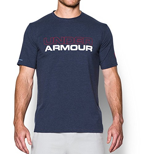 Under Armour Mens Wordmark T-Shirt, Midnight Navy/White, Medium