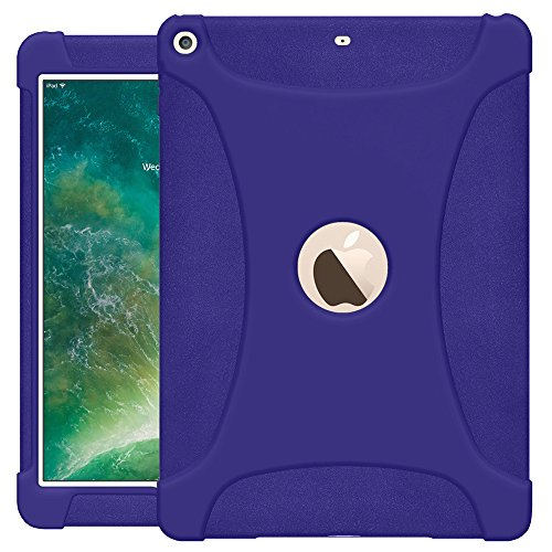 AMZER AMZ203680 Rugged Silicone Skin Jelly Slim Protective Heavy Duty Shockproof Anti Slip Kids Friendly Case for The New 9.7 iPad 2018 - Blue