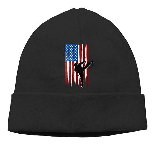 043ede8aff94a USA Flag Team Taekwondo Beanie Hat Cute Toboggan Hat Winter Hats Knit Hat  Beanies for Men