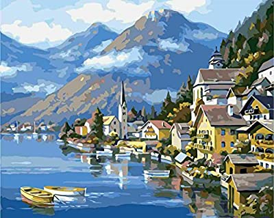 Pack of 20 [WOODEN FRAMED] Diy Oil Painting, paint By Number- Seaside Scenery (2) 16*20 inch