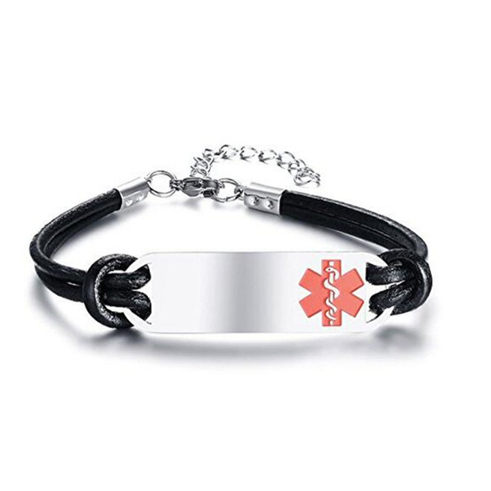 LF Stainless Steel Leather Medical Alert Bracelet Name ICE Personalized Custom Medic ID Bracelet Emergency Awanrance Monitoring, Free Engraving Customized LiFashion LF-YZJ-0181-Black-DZ