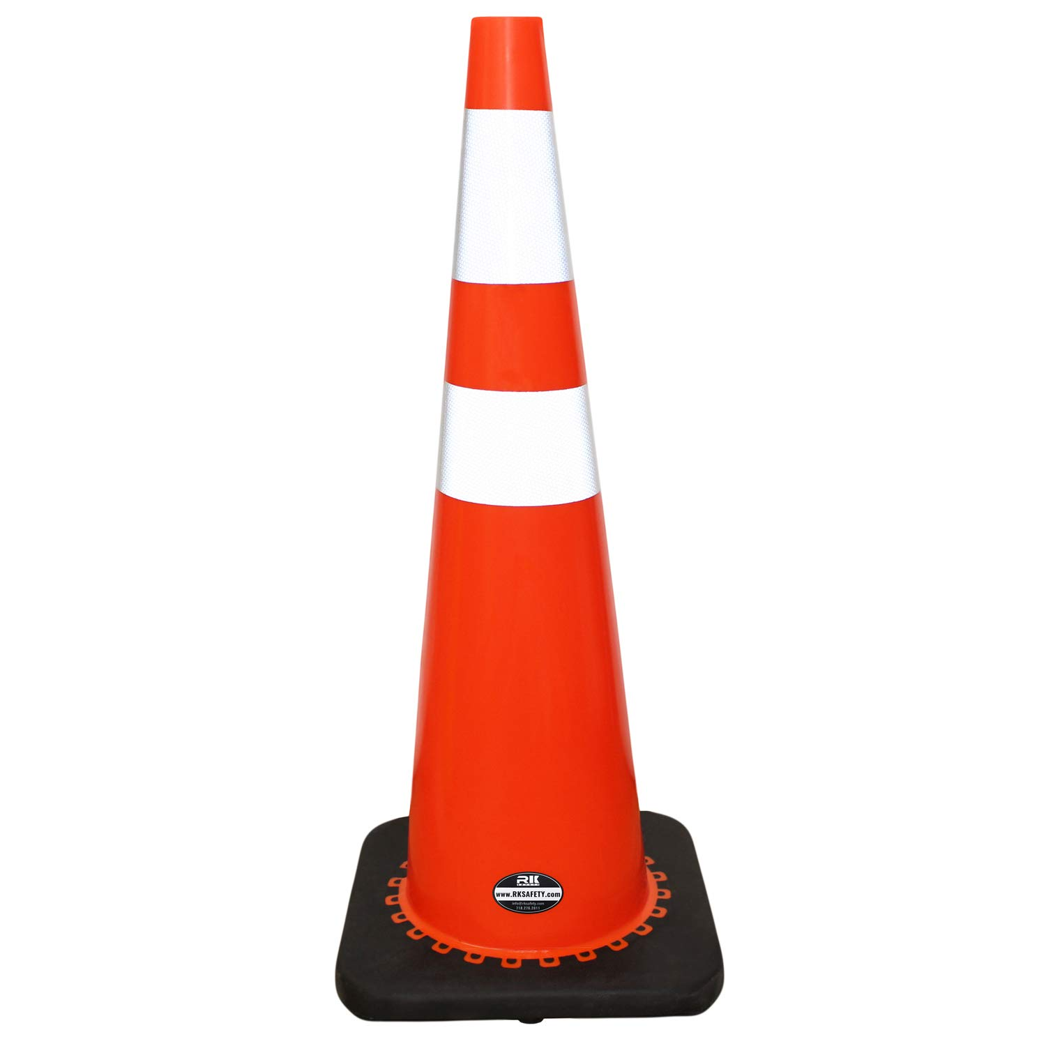 (Set of 6) 36'' RK Orange Safety PVC Traffic Cone, Black Base with Two Reflective Collars by RK Safety